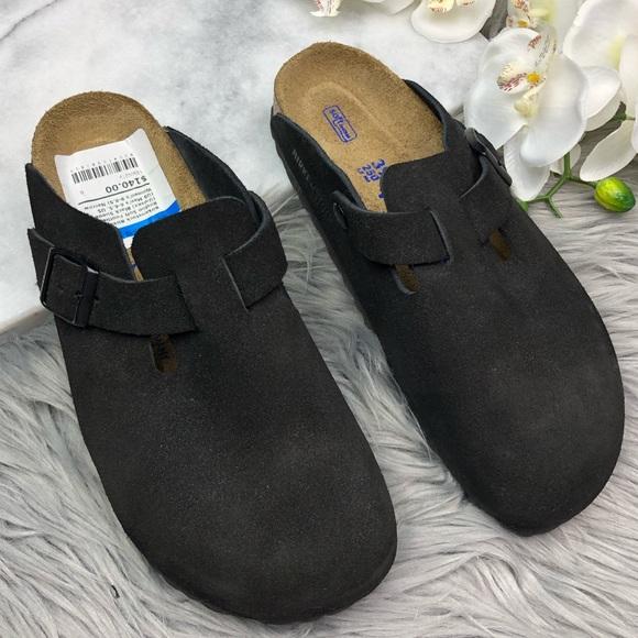 63baecb24ab85 Birkenstock Shoes | Boston Black Suede Clogs Soft Footbed | Poshmark